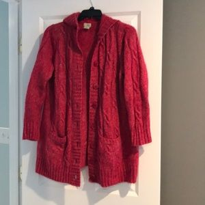 Long LL Bean hooded cardigan